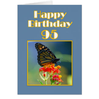 Happy 95th Birthday Monarch Butterfly Greeting Card