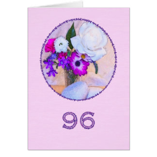 Happy 96th birthday with a flower painting greeting card