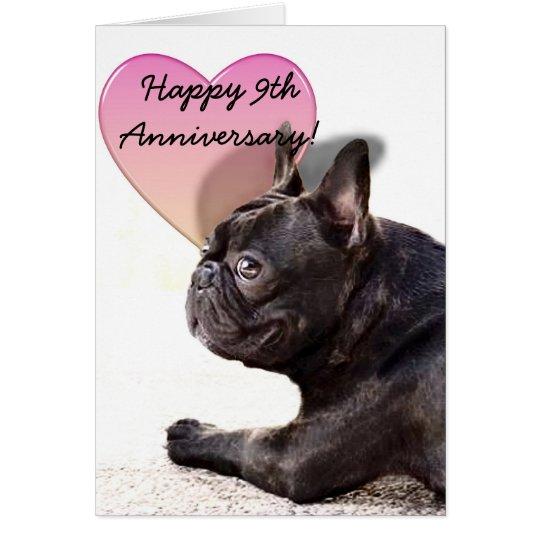 Happy 9th Anniversary French Bulldog greeting card