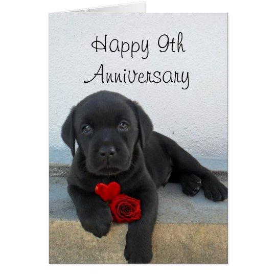 Happy 9th Anniversary Labrador puppy greeting card