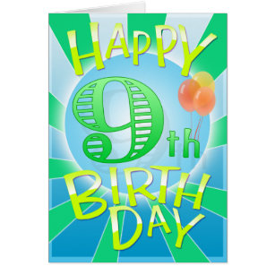 Happy 9th birthday cards invitations zazzle happy 9th birthday card bookmarktalkfo Images