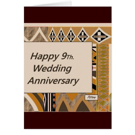 Ninth Wedding Anniversary Gift: Happy 9Th. Wedding Anniversary Pottery Greeting Card