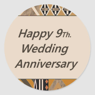 Wedding Gifts For 9th Anniversary : Happy 9Th. Wedding Anniversary Pottery Stickers