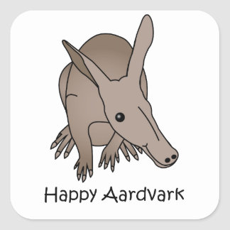 Happy Aardvark Square Sticker