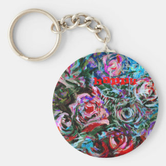 Happy Abstract Roses Keychain