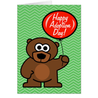Happy Adoption Day card | teddy bear with balloon