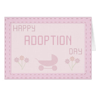 Happy Adoption Day Cross Stitch Style in Pinks Card