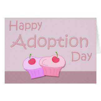 Happy Adoption Day Cupcakes in Pinks and Mauve Greeting Cards