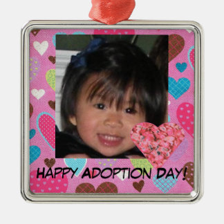 Happy Adoption Day Pink Hearts Photo Ornament
