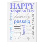 Happy Adoption Day Text Design in Blue & Grey Greeting Card