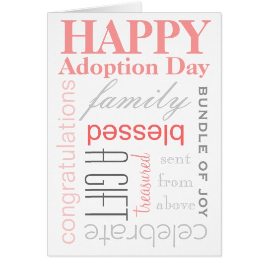 Happy Adoption Day Text Design in Pink &