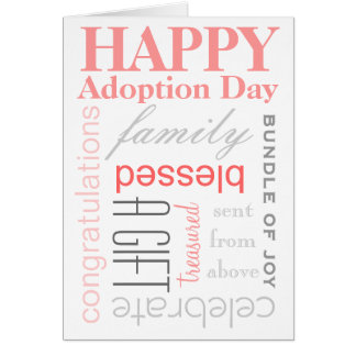 Happy Adoption Day Text Design in Pink & Grey Greeting Card