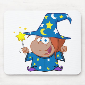 Happy African American Wizard Girl Mouse Pads