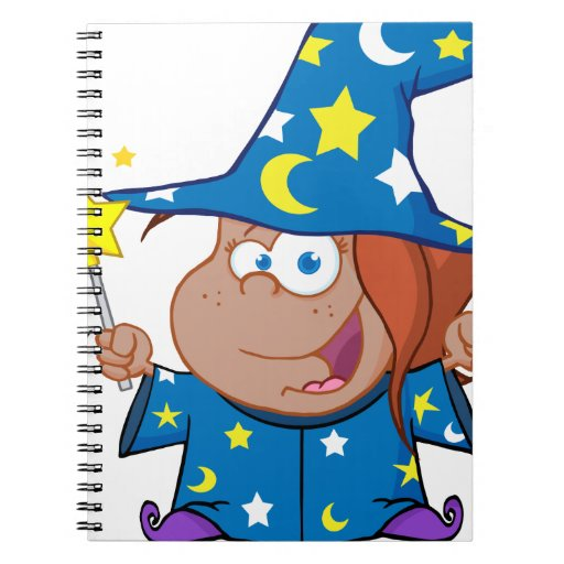 Happy African American Wizard Girl Spiral Note Book