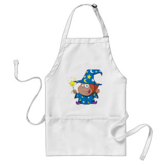 Happy African American Wizard Girl Standard Apron
