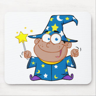 Happy African American Wizard Mousepads