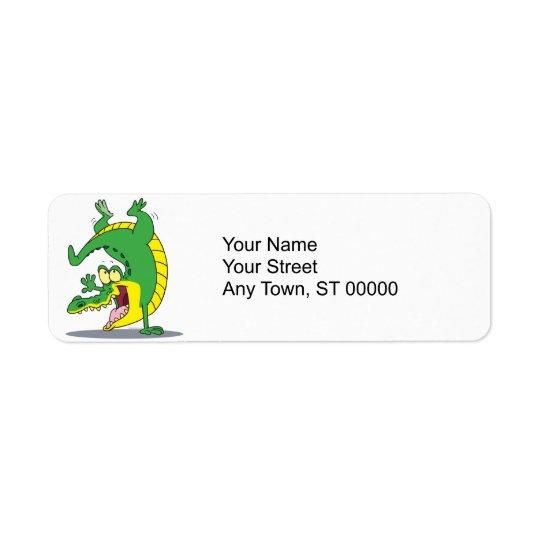 happy alligator crocodile cartoon dancing return address label