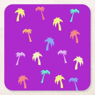 Happy and Bright Palm Trees Purple Coaster