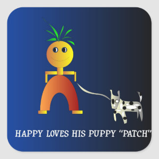 Happy and Patch>  Childrens Sticker.