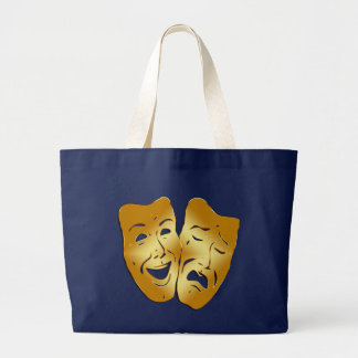 HAPPY AND SAD THEATER MASKS LARGE TOTE BAG