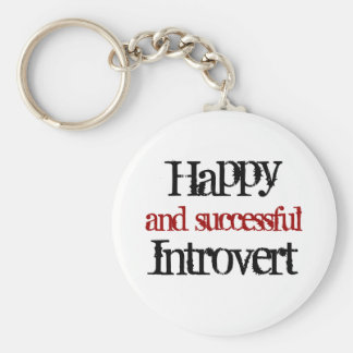 Happy and successful introvert basic round button key ring