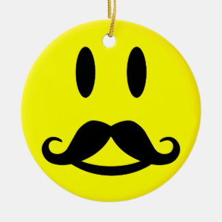 Happy & Angry Mustache Smiley ornament