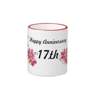 Happy Anniversary 17th Ringer Coffee Mug