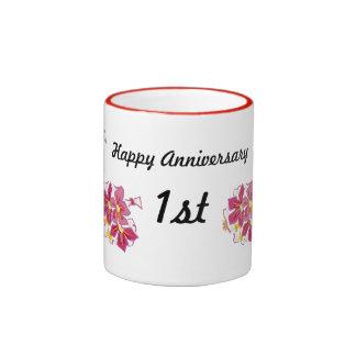 Happy Anniversary 1st Ringer Mug