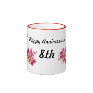 Happy Anniversary 8th Ringer Mug