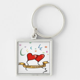 Happy Anniversary and Heart balloons Key Chains