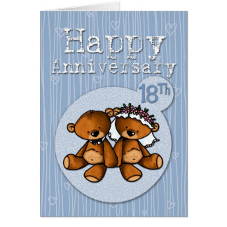 happy anniversary bears - 18 year card