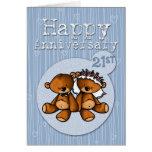 happy anniversary bears - 21 year greeting card