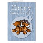 happy anniversary bears - 4 year greeting card