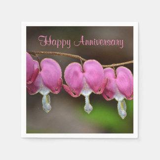 Happy Anniversary Bleeding Hearts Paper Serviettes