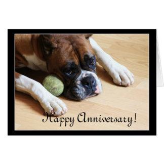 Happy Anniversary boxer dog greeting card