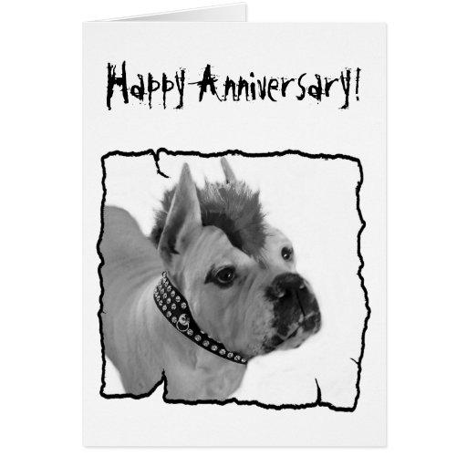 Happy Anniversary Boxer punk greeting card