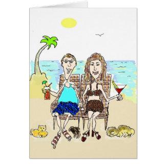 HAPPY ANNIVERSARY COUPLE ON THE BEACH CARD