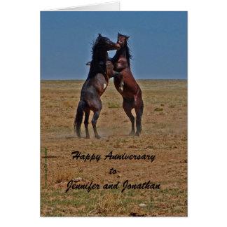 Happy Anniversary Dancing Horses Click Up Yr Heels Greeting Card