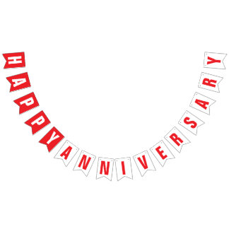 HAPPY ANNIVERSARY DECOR, RED + WHITE BUNTING