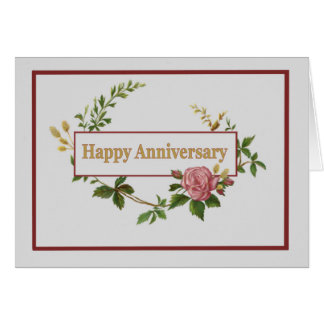 Happy Anniversary, Elegant Pink Vintage Rose Card