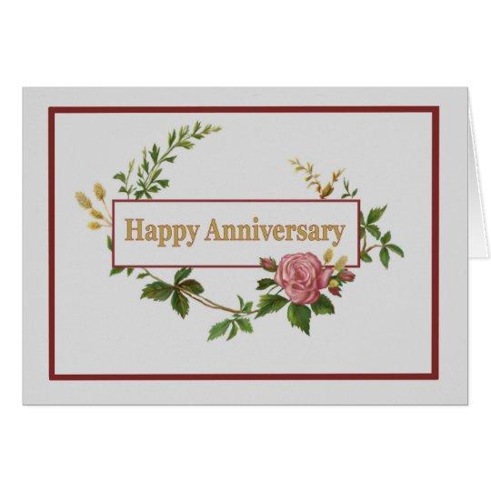 Happy Anniversary, Elegant Pink Vintage Rose Card
