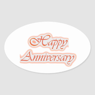 HAPPY Anniversary : Elegant Text  Background Color Oval Sticker