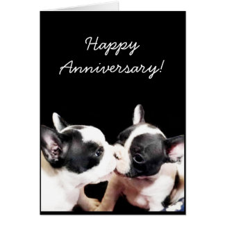 Happy Anniversary French bulldog greeting card