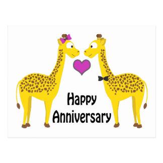 Happy Anniversary Giraffes Postcard