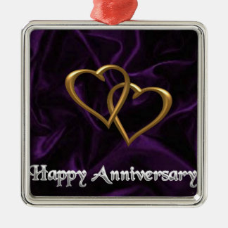 Happy Anniversary - Gold rings on purple Silver-Colored Square Decoration