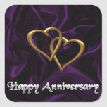 Happy Anniversary - Gold rings on purple Sticker