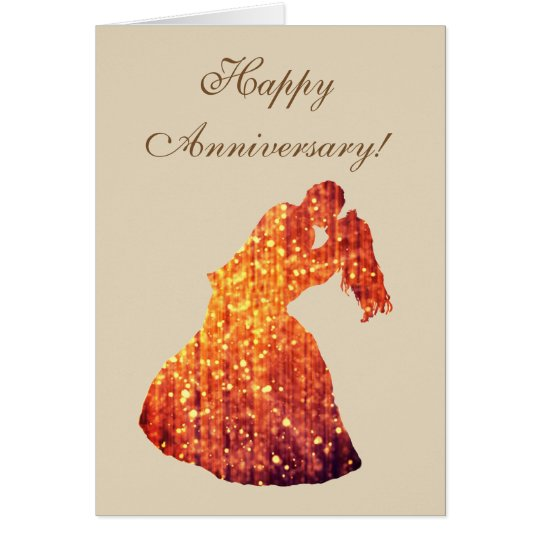 Happy Anniversary Golden Couple , Kiss Postcard