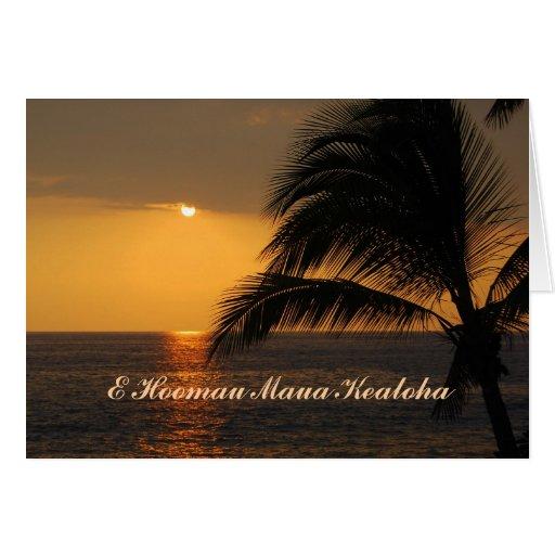 Happy Anniversary Hawaiian Tropical Sunset Greeting Card