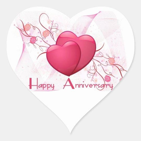 Happy Anniversary Hearts Heart Sticker