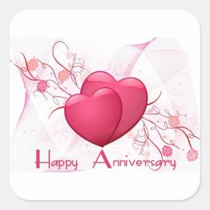 happy anniversary hearts stickers labels zazzle uk